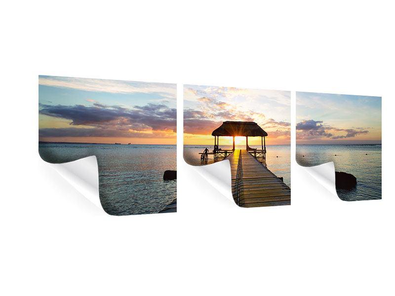 Panorama Poster 3-teilig Romantik auf Mauritius