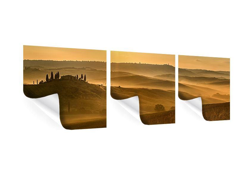Panorama Poster 3-teilig Sonnenuntergang im Gebirge