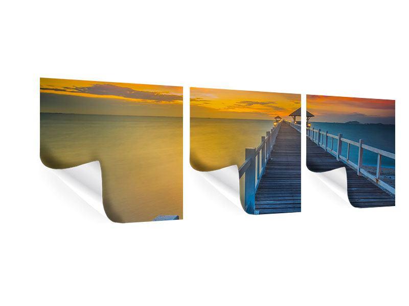 Panorama Poster 3-teilig Eine Holzbrücke im fernen Osten