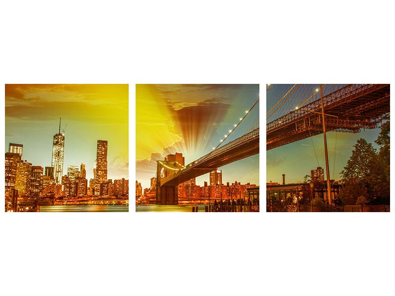 Panorama Poster 3-teilig Skyline Brooklyn Bridge NY