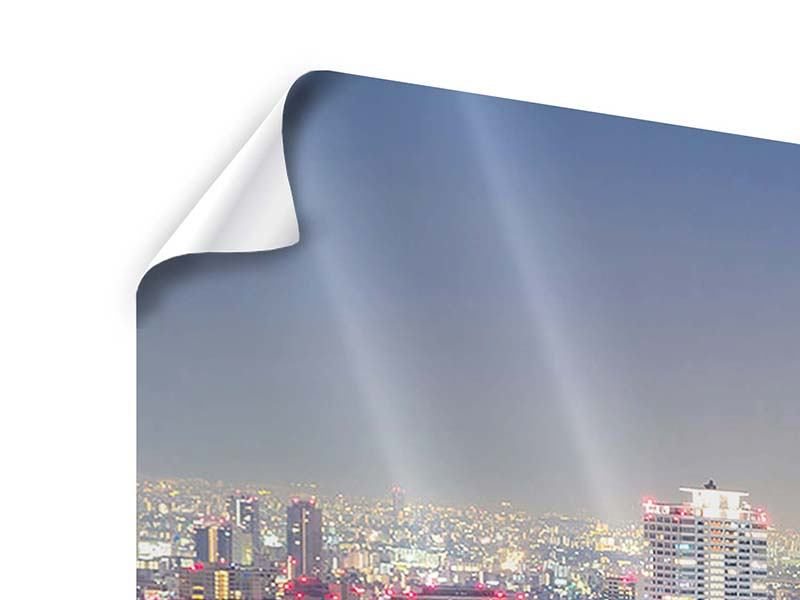 Panorama Poster 3-teilig Skyline Osaka bei Sonnenuntergang