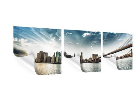 Panorama Poster 3-teilig Brooklyn Bridge From The Other Side