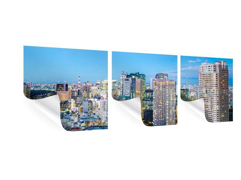 Panorama Poster 3-teilig Skyline Tokio im Lichtermeer