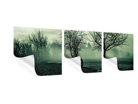 Panorama Poster 3-teilig Der Auwald im Nebel