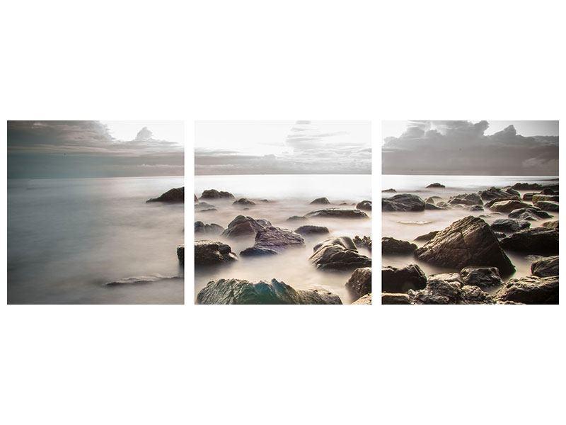Panorama Poster 3-teilig Steine am Strand