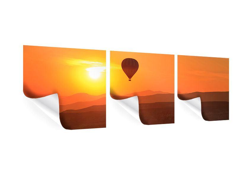 Panorama Poster 3-teilig Heissluftballon bei Sonnenuntergang