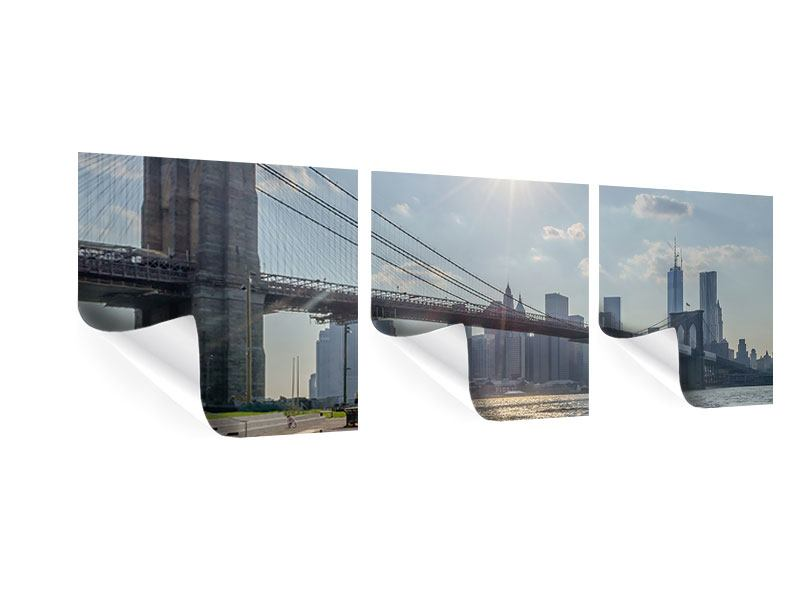 Panorama Poster 3-teilig Brooklyn Bridge