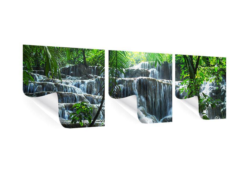 Panorama Poster 3-teilig Wasserfall Agua Azul