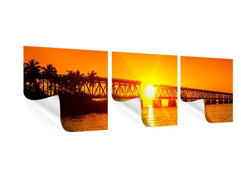 Panorama Poster 3-teilig Sonnenuntergang an der Brücke