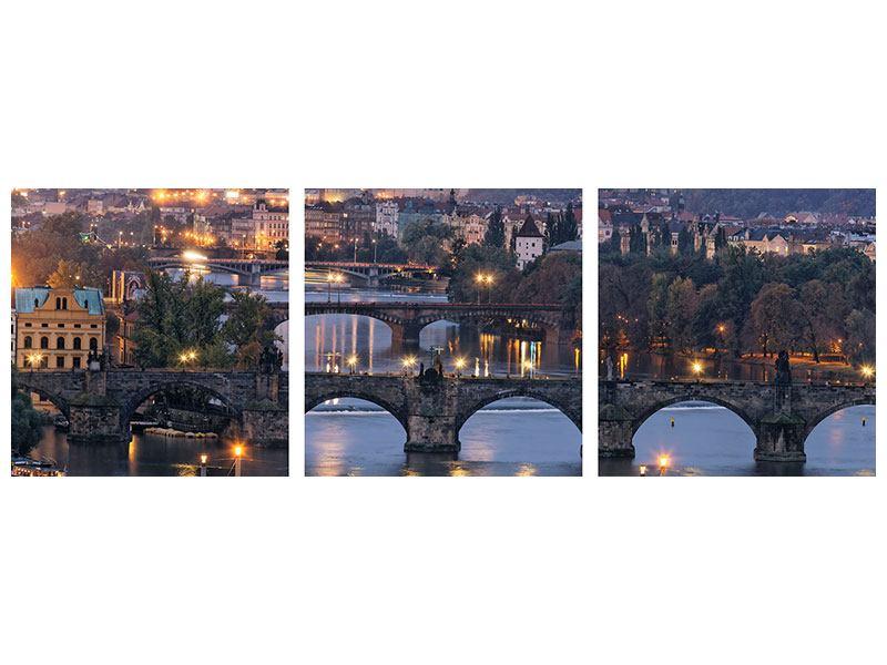 Panorama Poster 3-teilig Brücken in Prag