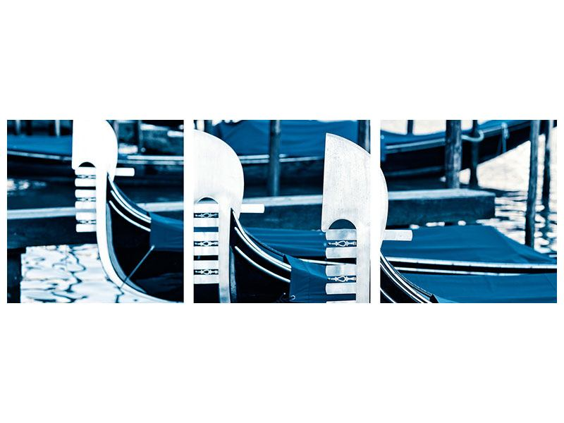 Panorama Poster 3-teilig Gondeln in Venedig