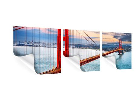 Panorama Poster 3-teilig Der Golden Gate Bridge bei Sonnenuntergang