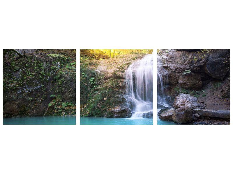 Panorama Poster 3-teilig Fliessender Wasserfall