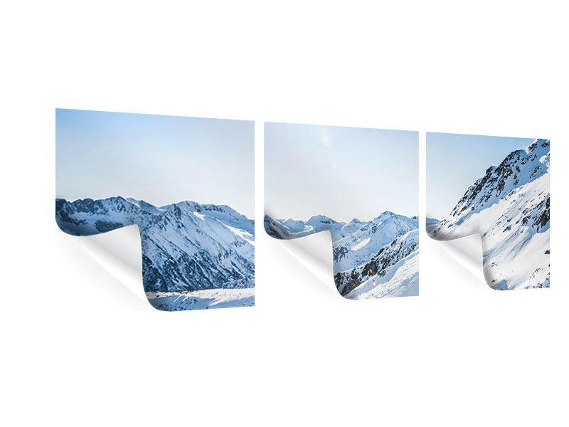 Panorama Poster 3-teilig Bergpanorama im Schnee
