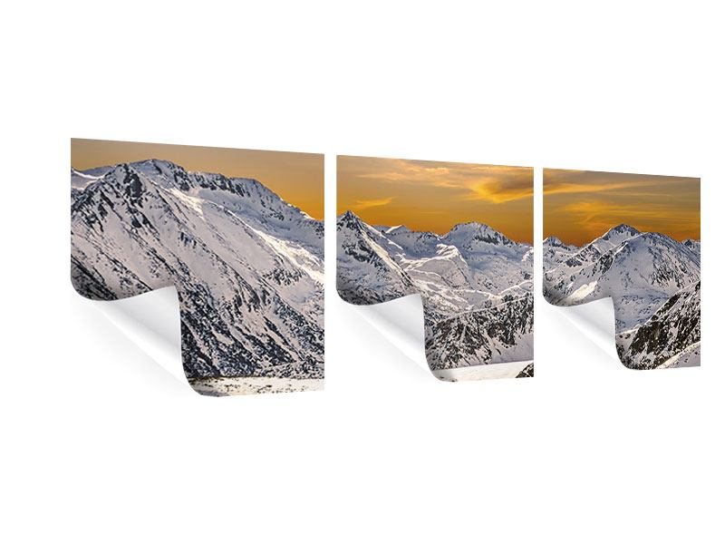 Panorama Poster 3-teilig Sonnenuntergang in den Bergen