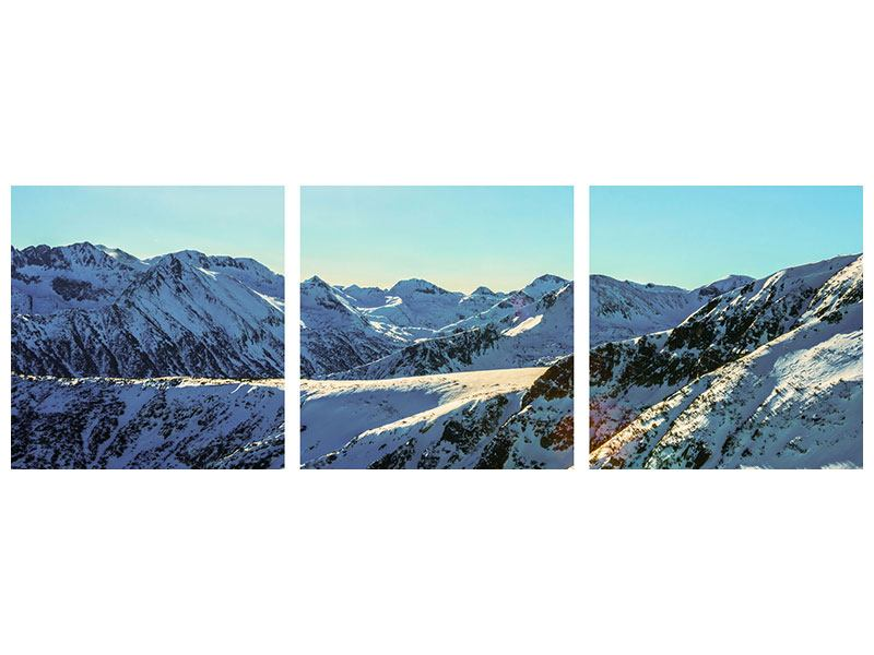 Panorama Poster 3-teilig Sonnige Berggipfel im Schnee