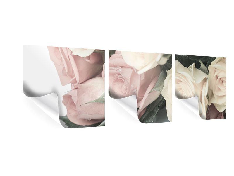 Panorama Poster 3-teilig Rosenromantik
