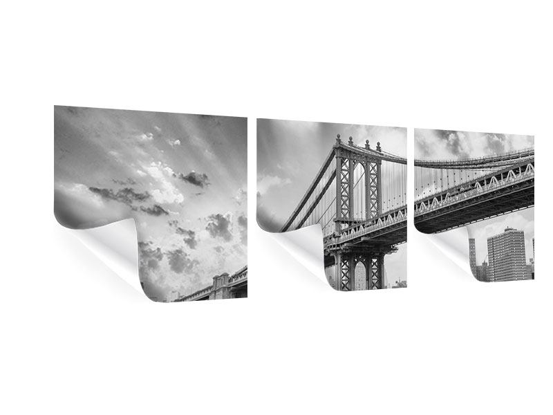 Panorama Poster 3-teilig Manhattan Bridge