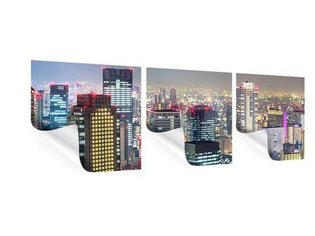 Panorama Poster 3-teilig Skyline Osaka im Lichtermeer