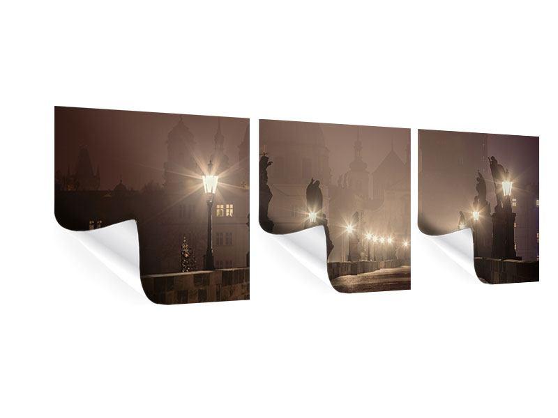 Panorama Poster 3-teilig Die Karlsbrücke bei Nacht