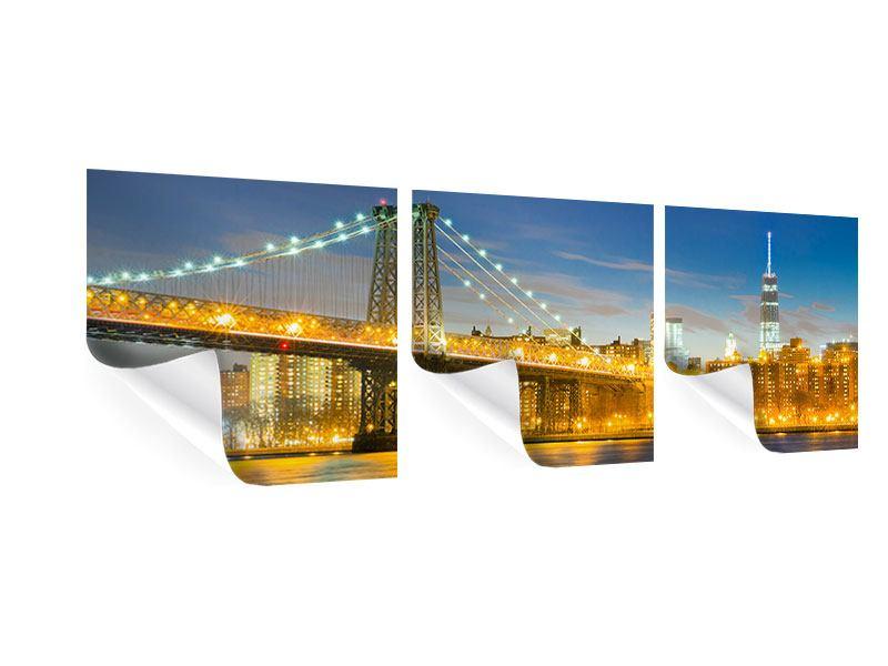 Panorama Poster 3-teilig Brooklyn Bridge bei Nacht