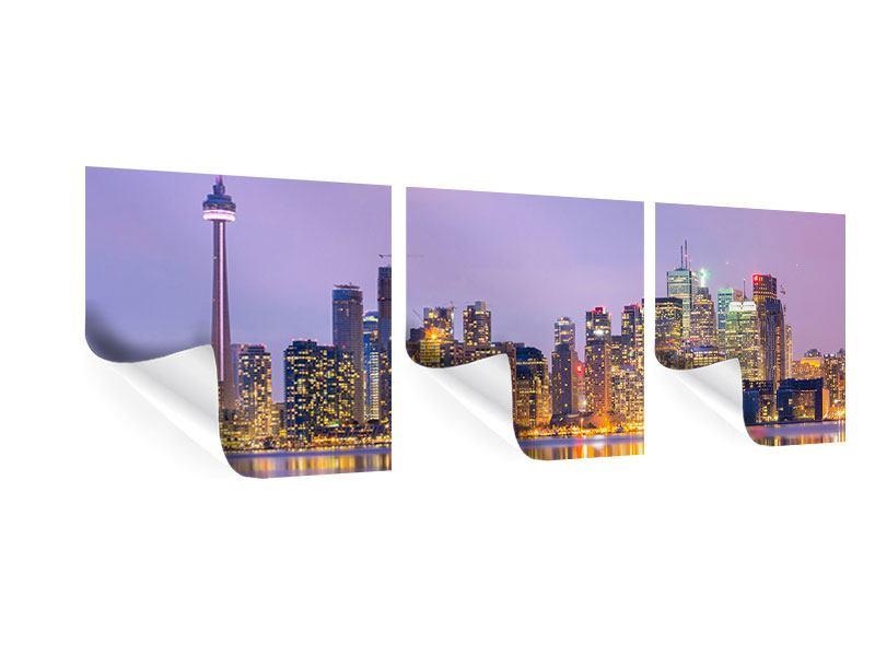 Panorama Poster 3-teilig Skyline Toronto bei Nacht