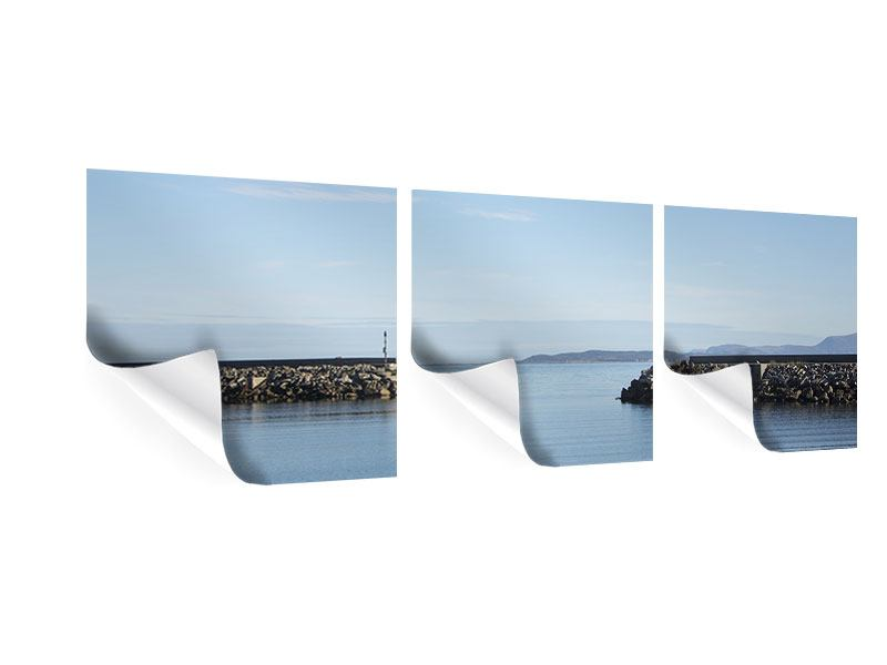 Panorama Poster 3-teilig Hafenmauern