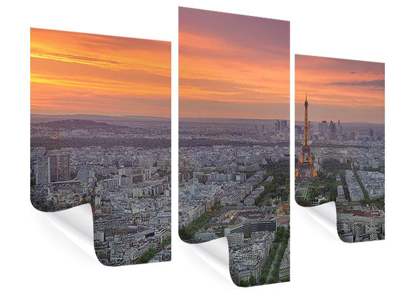 Poster 3-teilig modern Skyline Paris bei Sonnenuntergang