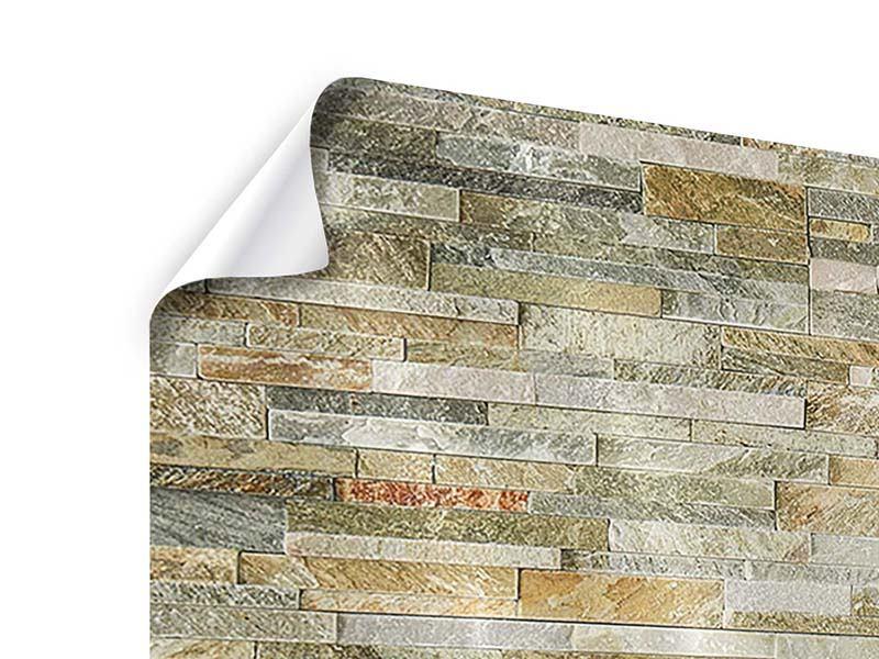 Poster 3-teilig modern Edle Steinmauer
