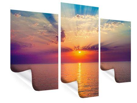 Poster 3-teilig modern Mystischer Sonnenaufgang