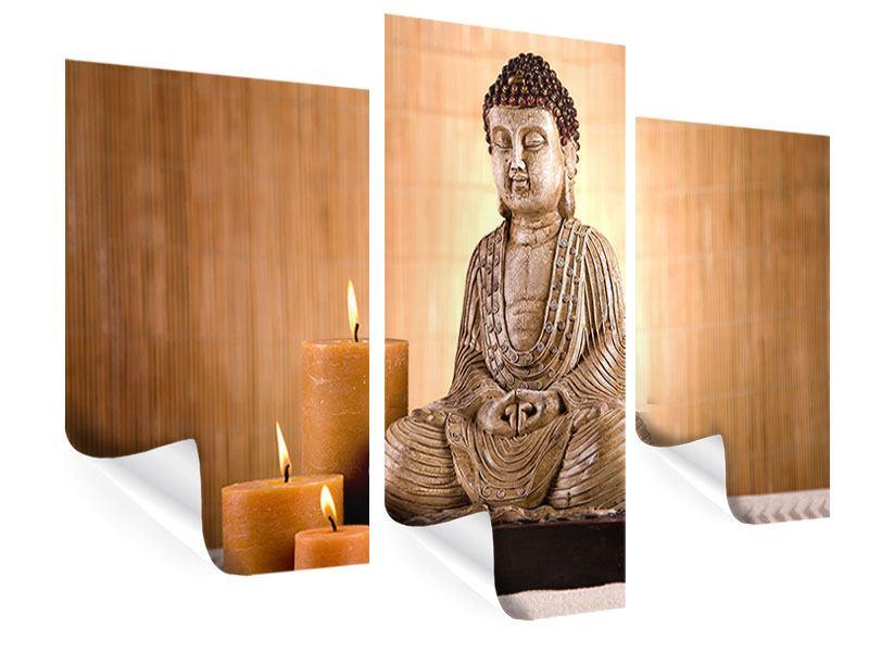 Poster 3-teilig modern Buddha in der Meditation