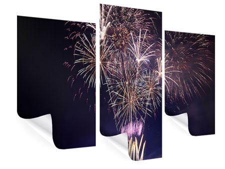 Poster 3-teilig modern Feuerwerk