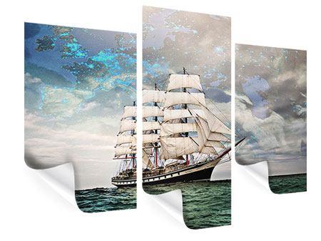 Poster 3-teilig modern Segelschiff