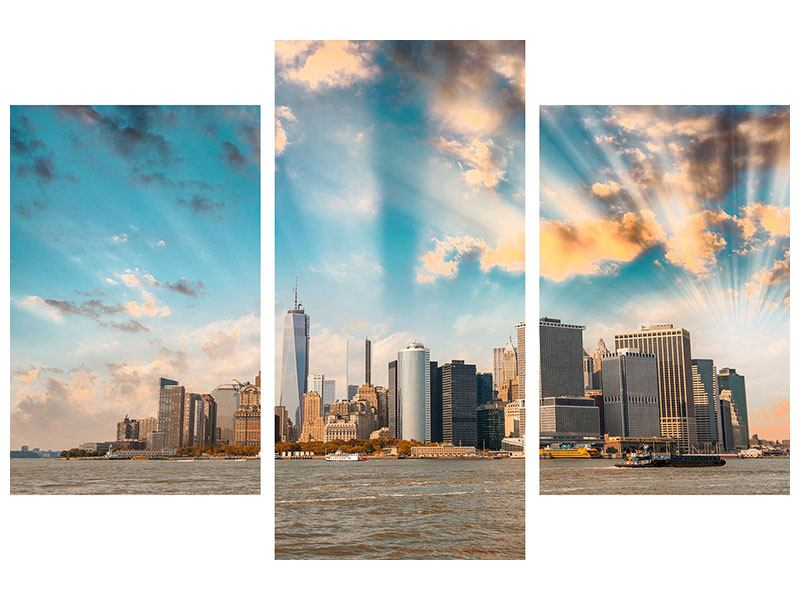 Poster 3-teilig modern Skyline New York from the other Side