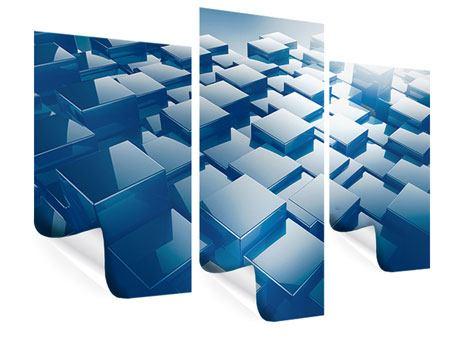 Poster 3-teilig modern 3D-Cubes