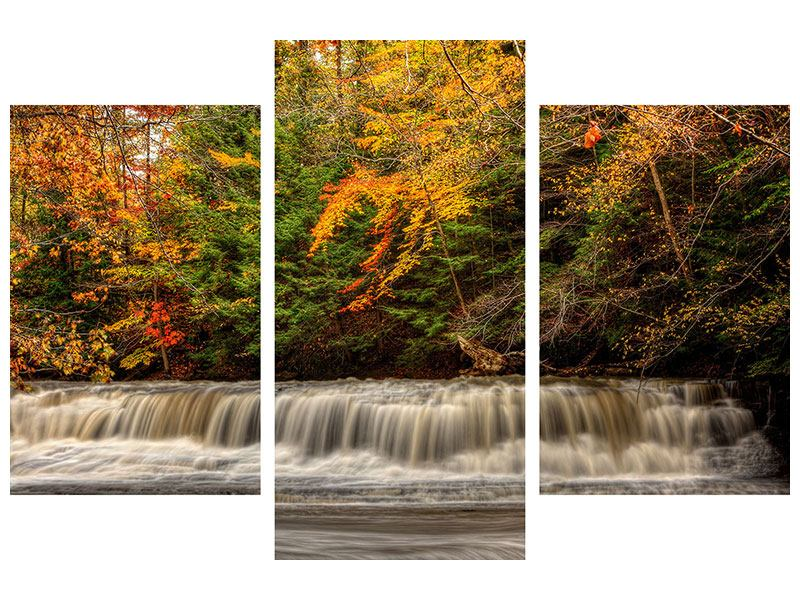 Poster 3-teilig modern Herbst beim Wasserfall