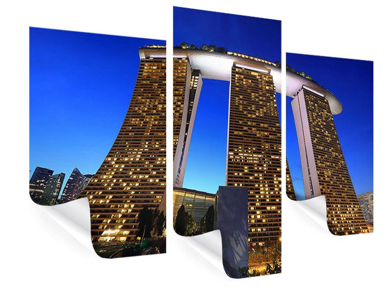 Poster 3-teilig modern Wolkenkratzer Singapur