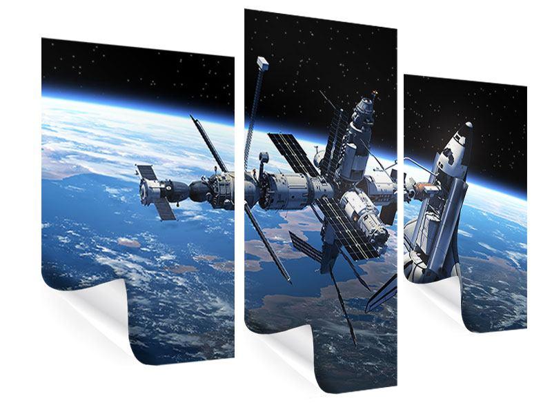 Poster 3-teilig modern Satellit