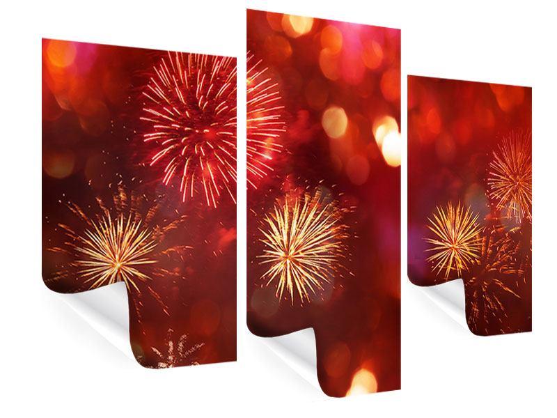 Poster 3-teilig modern Buntes Feuerwerk