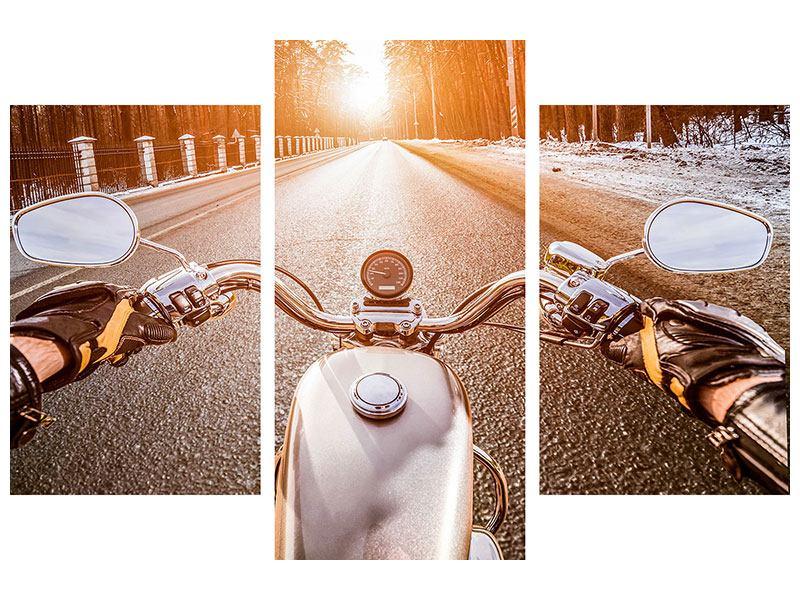 Poster 3-teilig modern Auf dem Motorrad