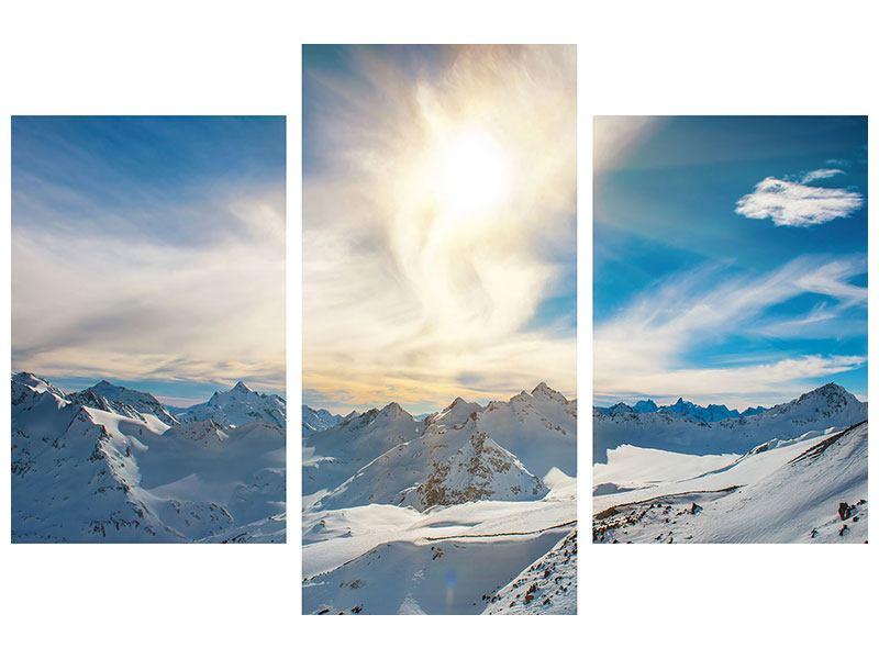 Poster 3-teilig modern Über den verschneiten Gipfeln
