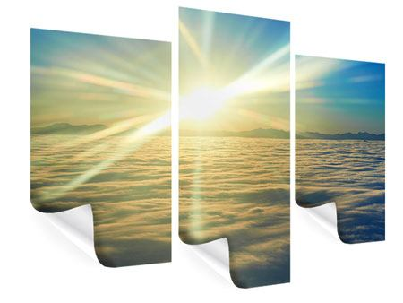 Poster 3-teilig modern Sonnenaufgang über den Wolken