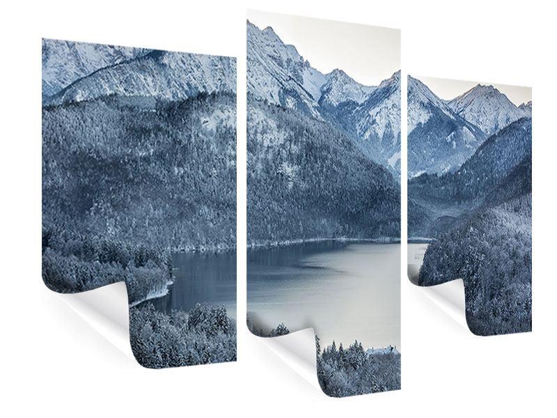 Poster 3-teilig modern Schwarzweissfotografie Berge