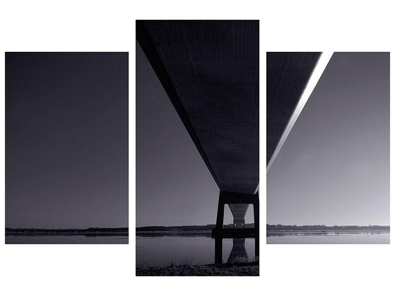 Poster 3-teilig modern Die Brücke über tiefes Wasser