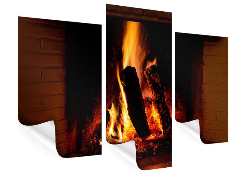 Poster 3-teilig modern Feuer im Kamin