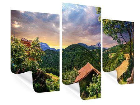 Poster 3-teilig modern Schweizer Berge im Sommer