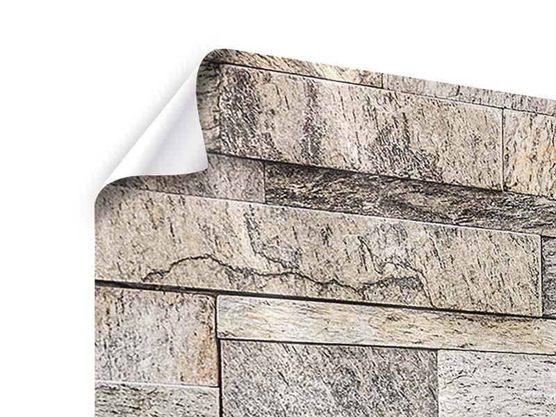 Poster 3-teilig modern Elegante Steinmauer