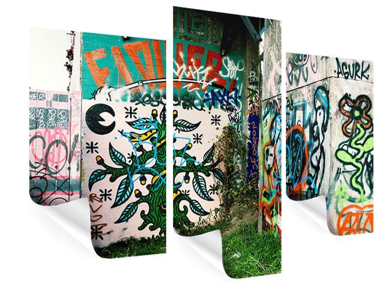 Poster 3-teilig modern Graffiti im Hinterhof