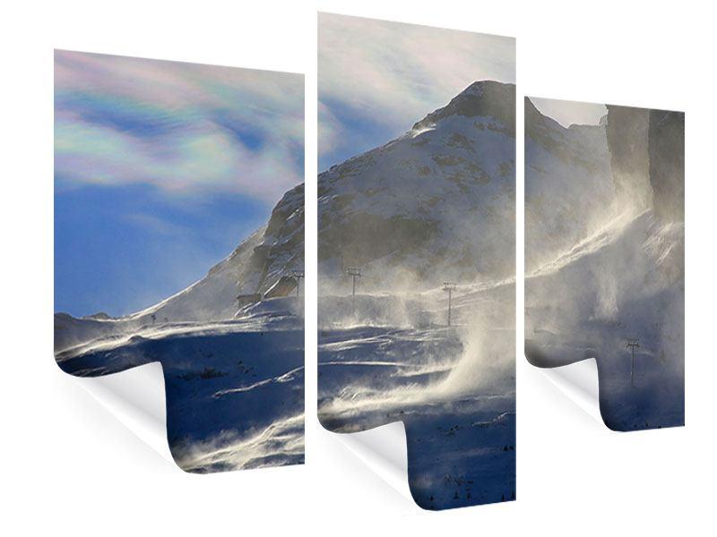 Poster 3-teilig modern Mit Schneeverwehungen den Berg in Szene gesetzt