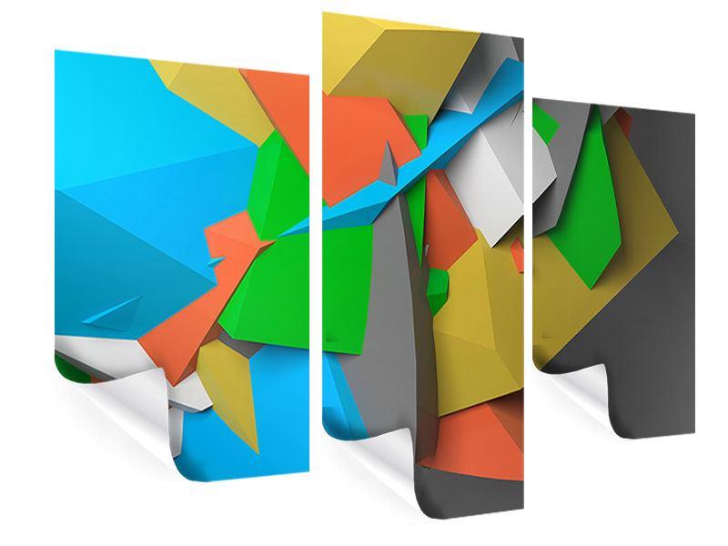 Poster 3-teilig modern 3D-Geometrische Figuren